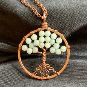 Vintage Copper Twisted Wire Tree Pendant Necklace